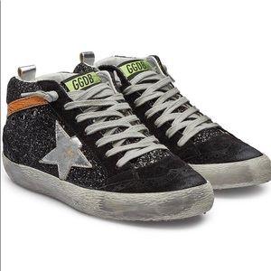 Golden Goose Mid Star Black Glitter Sneakers 38